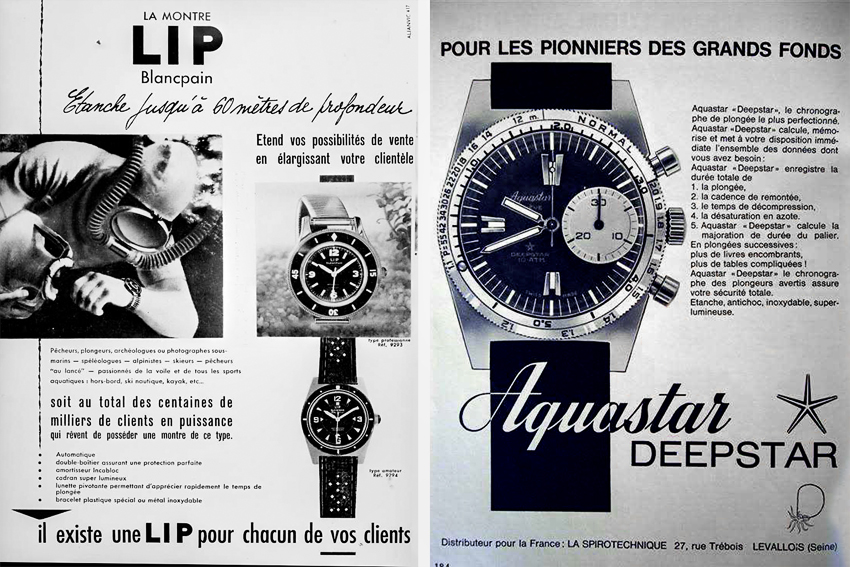 Cousteau era Blancpain and Aquastar dive watch ads.