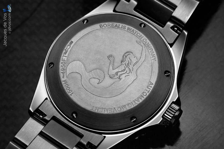 The Borealis Seahawk 1500 features a mermaid on the case back.