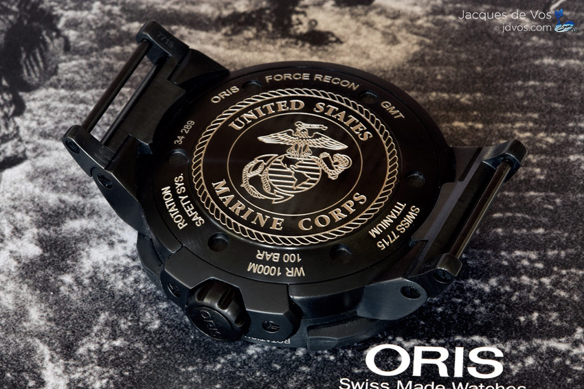 The Laser Engraved Case Back Featuring The USMC Force Recon Emblem.