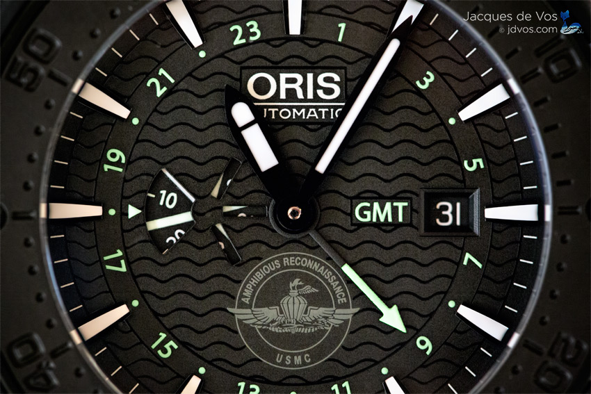 The Stunning Oris Force Recon GMT Dial With Its Wave Pattern And Unique Small Second Window