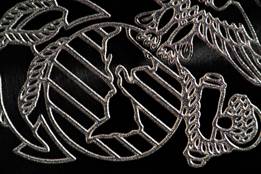 The Amazing Detail Of The  Laser Engraved USMC Logo On The Caseback Of The Oris Force Recon GMT