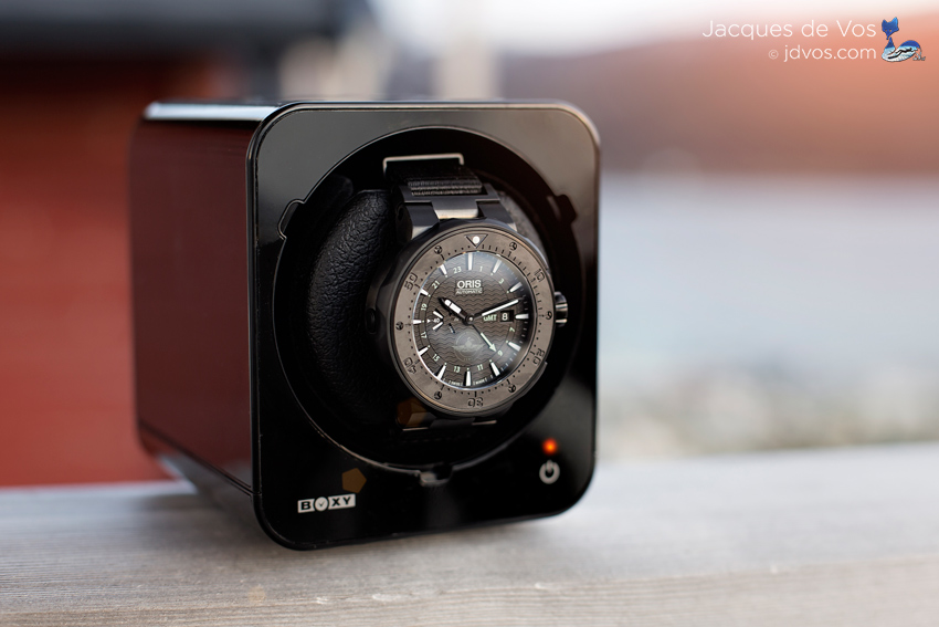 The Beco Boxy Fancy Brick Watch Winder Without Cover & The Oris Force Recon GMT.