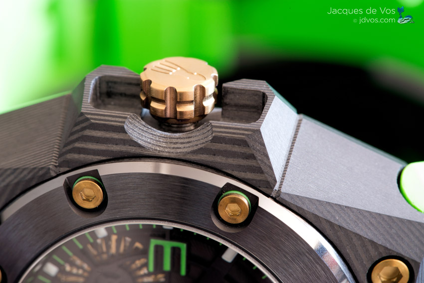 The Crown On The Linde Werdelin Oktopus Double Date Carbon Green Is Easily Gripped & Features A Squid Detail