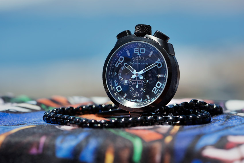 The Bomberg Bolt 68 Neon Ice Blue In Its Pocket Watch Configuration.